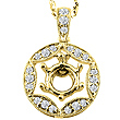 Diamond Round Drop pendant Gold