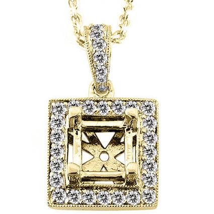 Diamond Pendant Setting in Gold: