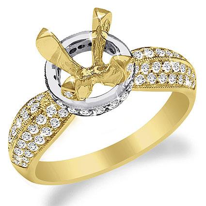 Two-Tone or Single-Tone 14K Gold Pave Diamond Ring