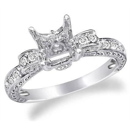 Platinum Flower Style Diamond Engagement Ring