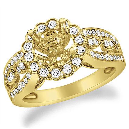 14K Gold Flower Style Diamond Engagement Ring