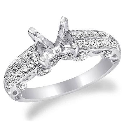 Two-Tone or Single-Tone Platinum Pave Diamond Ring